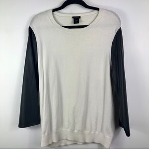 Ann Taylor faux leather quarter sleeves crew neck
